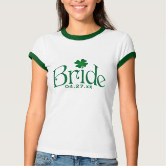 Emerald Green and White Shamrock Bride T-shirt