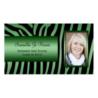 Emerald Green Black Zebra Photo Graduation Handout Business Card Template