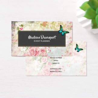 Emerald Green Butterfly on Chic Vintage Collage Business Card