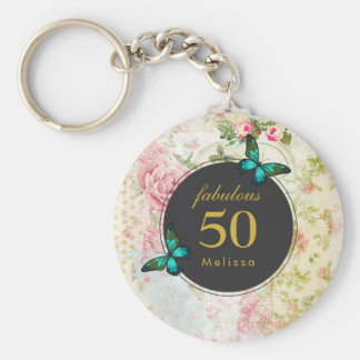 Emerald Green Butterfly on Chic Vintage Collage Key Ring