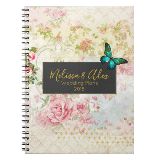 Emerald Green Butterfly on Chic Vintage Collage Notebook