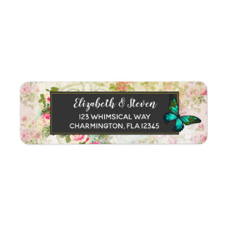 Emerald Green Butterfly on Chic Vintage Collage Return Address Label