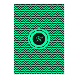 Emerald Green Chevron Monogrammed Wedding Card