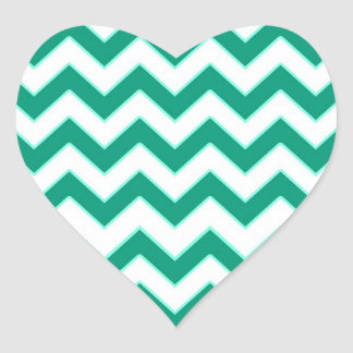 Emerald Green Chevron Pattern Heart Wedding Seal Heart Sticker