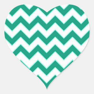 Emerald Green Chevron Pattern Heart Wedding Seal Heart Sticker