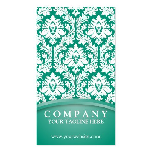 Emerald Green Damask Business Cards