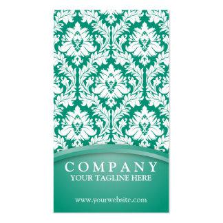 Emerald Green Damask Pack Of Standard Business Cards
