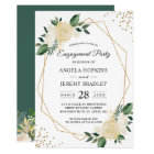 Emerald Green Floral Gold Frame Engagement Party Card