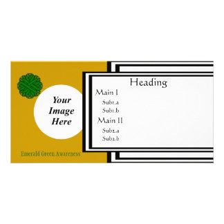 Emerald Green Flower Ribbon Template Photo Card