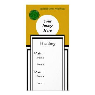 Emerald Green Flower Ribbon Template Photo Card Template