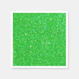 Emerald Green Glitter Effect Sparkle Paper Napkin
