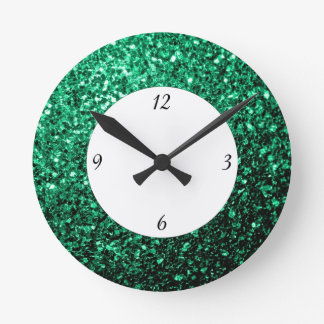Emerald Green glitter sparkles with numbers Round Clock
