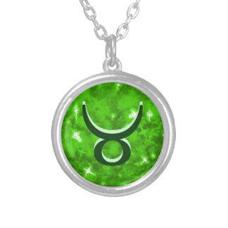 Emerald green glitter taurus necklace