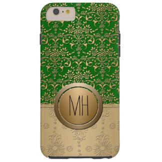 Emerald Green Gold Damask Custom Monogram Pattern Tough iPhone 6 Plus Case
