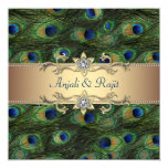 Emerald Green Gold Royal Indian Peacock Wedding 13 Cm X 13 Cm Square Invitation Card