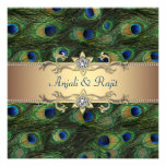 Emerald Green Gold Royal Indian Peacock Wedding Personalized Invitations