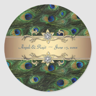 Emerald Green Gold Royal Indian Peacock Wedding Round Sticker