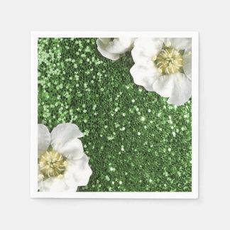 Emerald Green Grass Jasmin Glitter Sequin Sparkl Disposable Serviette