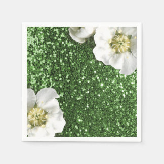 Emerald Green Grass Jasmin Glitter Sequin Sparkl Paper Napkin