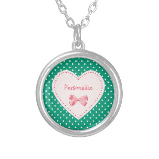 Emerald Green Heart With Name Silver Plated Necklace
