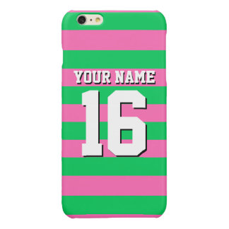 Emerald Green Hot Pink Team Jersey Preppy Stripe