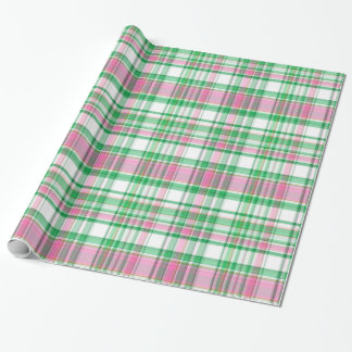 Emerald Green, Hot Pink, White Preppy Madras Plaid Wrapping Paper