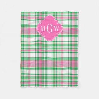 Emerald Green Hot Pink Wht Preppy Madras Monogram Fleece Blanket
