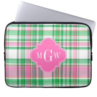 Emerald Green Hot Pink Wht Preppy Madras Monogram Laptop Sleeve