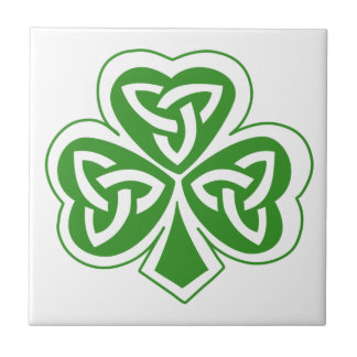 Emerald Green Irish Celtic Knot Shamrock Leaf Tile