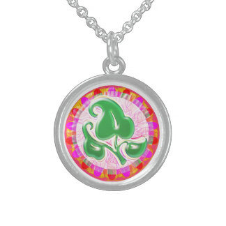 Emerald Green Leaf Jewel : Sterling Silver Round Pendant Necklace