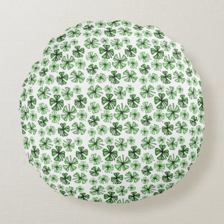 Emerald-Green Lucky Shamrock Clover Round Cushion