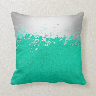 Emerald Green  Minimal Abstract Aquarelle Silver Cushion