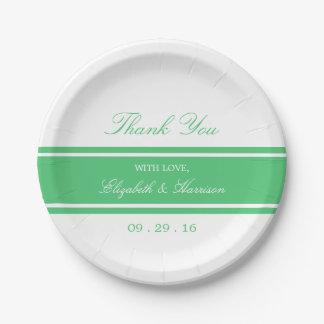 Emerald Green Modern Wedding 7 Inch Paper Plate