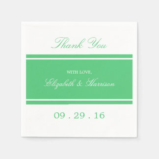 Emerald Green Modern Wedding Disposable Serviettes