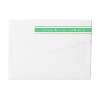 Emerald Green Modern Wedding Wrap Around Label