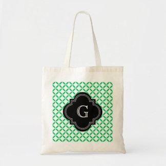Emerald Green Moroccan Quatrefoil Monogram Black Tote Bag