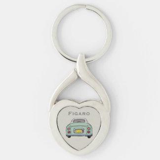 Emerald Green Nissan Figaro Custom Heart Key Ring