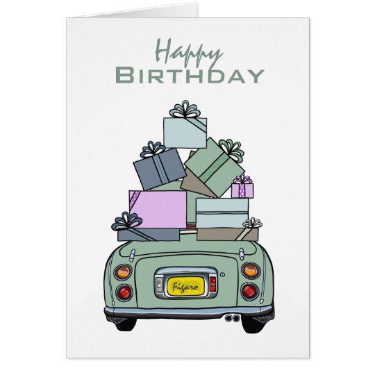 Emerald Green Nissan Figaro Happy Birthday Card