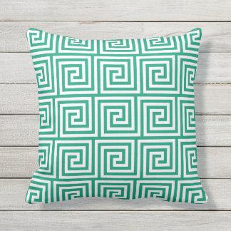 Emerald Green Outdoor Pillows Greek Key