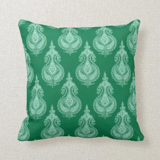 Emerald green paisley cushion