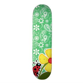 Emerald Green Paisley Ladybug Skateboard Decks