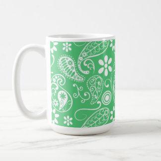 Emerald Green Paisley Mugs