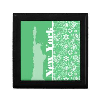 Emerald Green Paisley; New York City Keepsake Box