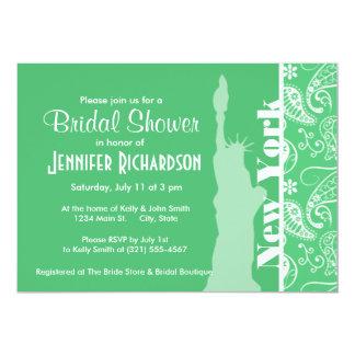 Emerald Green Paisley; New York City 13 Cm X 18 Cm Invitation Card