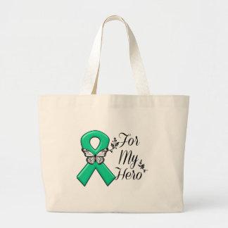 Emerald Green Ribbon For My Hero Jumbo Tote Bag