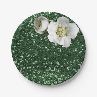 Emerald Green Sequin Floral White Jasmine Glitter Paper Plate