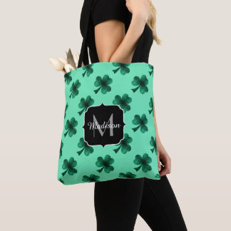 Emerald Green Sparkles Shamrock Clover Monogram Tote Bag