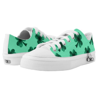Emerald Green Sparkles Shamrock Clover turquoise Low Tops