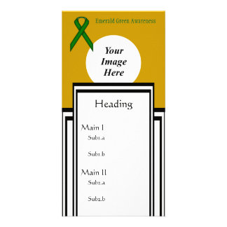 Emerald Green Standard Ribbon Template Photo Cards