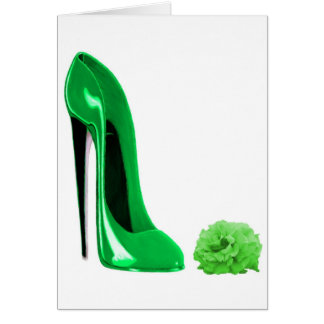 Emerald Green Stiletto Shoe and Rose Greeting Card